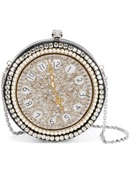 Alexander Mcqueen Clock Embroidered Round Skull Clutch Metallic