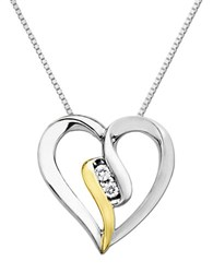 Lord And Taylor Open Heart Pendant In Sterling Silver With 14 Kt. Yellow Gold Diamond Gold Silver