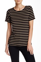 Cable And Gauge Button Shoulder Short Sleeve Tee Beige