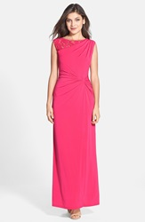 Lace Inset Twist Front Jersey Gown Rose