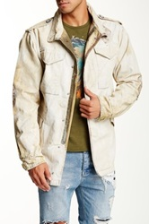 Artisan De Luxe Zane Genuine Leather Trim Washed And Distressed Jacket White