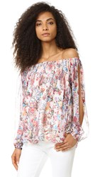 Haute Hippie Cold Shoulder Blouse Paisley Floral