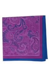 Calibrate Men's 'Fancy Paisley' Cotton And Silk Pocket Square Purple Viola