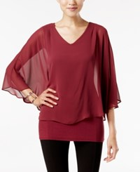 Joseph A V Neck Cape Top Burgundy