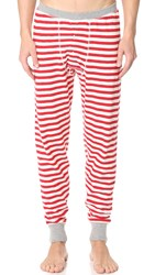 Sleepy Jones Keith Rugby Stripe Long Johns Red