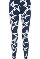 Perfect Moment Starlight Printed Stretch Jersey Leggings Storm Blue