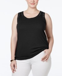 Inc International Concepts Plus Size Laced Grommet Tank Top Only At Macy's Deep Black