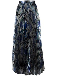 Christopher Kane Long Pleated Lame Skirt Metallic