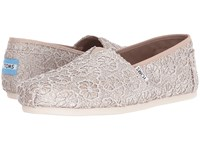 Toms Seasonal Classics Rose Gold Crochet Glitter Women's Slip On Shoes