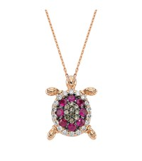 Bee Goddess Pink Sapphire Turtle Necklace Female
