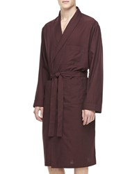 Neiman Marcus Men's Plaid Cotton Robe Maroon Red