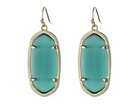Kendra Scott Elle Earring Gold Emerald Cats Eye Earring Blue