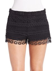 French Connection Crochet Overlay Shorts Black