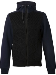 Sacai Cable Knit Front Hoodie Blue