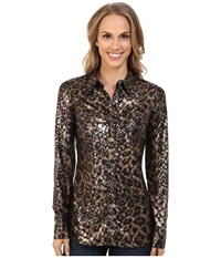 Roper 9916 Poly Jersey Shiny Animal Printed Brown Women's Clothing