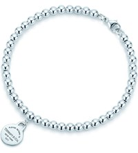 Tiffany And Co. Return To Tiffanytm Round Tag In Sterling Silver On A Bead Bracelet