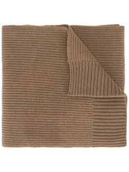 Dolce And Gabbana Ribbed Scarf Brown