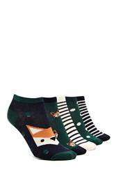 Forever 21 Holiday Ankle Sock Set 5 Pack Green Multi