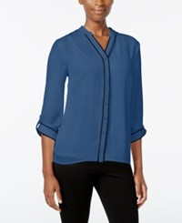 Ny Collection Petite Contrast Trim Blouse Teal Empathy