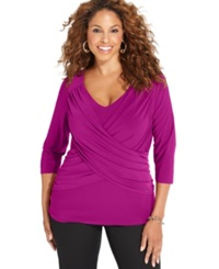 Ny Collection Plus Size B Slim Three Quarter Sleeve Top Purple Wine