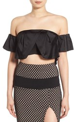 Kendall Kylie Women's Ruffle Off The Shoulder Crop Top