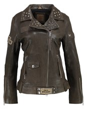 True Religion Leather Jacket Military Khaki