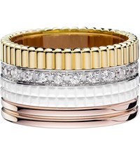 Boucheron Quatre 18Ct White Yellow And Pink Gold Diamond And Ceramic Ring