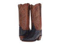 Lucchese Harriet Navy Full Quill Ostrich Cognac Burnished Cowboy Boots Brown