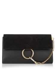 Chloe Faye Leather And Suede Clutch Black