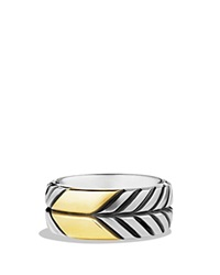David Yurman Modern Chevron Band Ring With Gold Silver