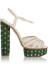 Charlotte Olympia Cactus Crystal Embellished Suede Sandals White