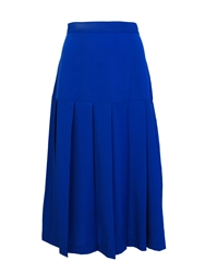 Cutie Pleated Midi Skirt Blue