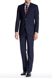 English Laundry Mini Gingham Two Button Peak Lapel Wool Suit Blue
