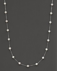Bloomingdale's Freshwater Pearl And 14 Kt. White Gold Multi Station Choker 18 No Color