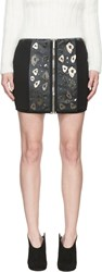 Anthony Vaccarello Black Leather And Metal Applique Leopard Skirt