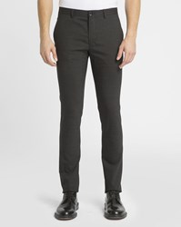 Paul Smith Charcoal Micro Houndstooth Wool Slim Fit Trousers Grey