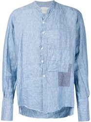 Greg Lauren 'Waterfall Crooked Patchwork Studio' Shirt Blue