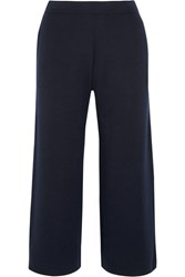 Allude Wool Wide Leg Pants Navy