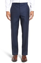 Santorelli Men's Big And Tall Flat Front Solid Wool Trousers Navy