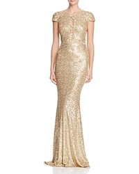Badgley Mischka Illusion Inset Sequin Gown Champagne