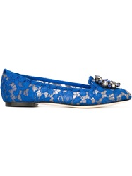 Dolce And Gabbana Floral Lace Ballerinas Blue