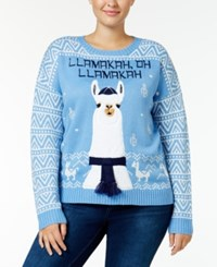 It's Our Time Trendy Plus Size Llama Holiday Sweater Blue