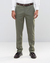 Asos Slim Smart Trousers In Khaki Burnt Olive Green