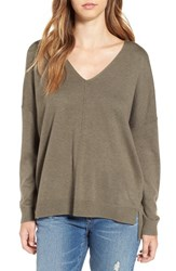 Leith Women's V Neck Sweater Olive Sarma Heather