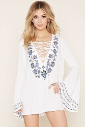 Forever 21 Embroidered Lace Up Tunic