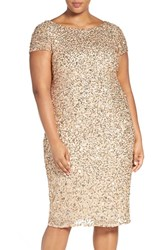 Adrianna Papell Plus Size Women's Beaded Cap Sleeve Sheath Dress Champagne Gold