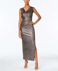 Connected Petite Metallic Draped Slit Gown Pewter