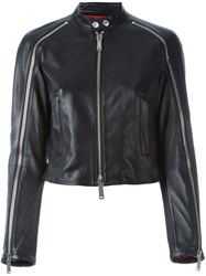 Dsquared2 Zip Detail Biker Jacket Black