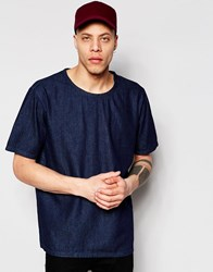 Weekday Zephyr Denim T Shirt Boxy Fit Wide Neck In Dark Blue Enzyme Blue