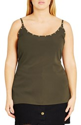 City Chic Plus Size Women's Eyelet Detail Camisole Thyme